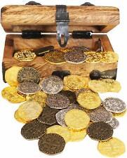 Pirate Treasure Chest w/ Metal Coins 48 Gold Silver Bronze Doubloon Replica Coin
