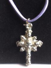 "Skull Cross TG277 Fine English Pewter On 18"" Purple Cord Necklace"