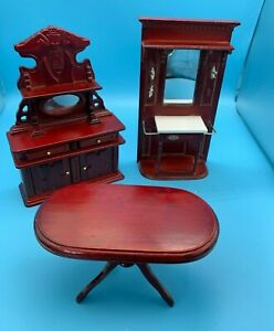 DOLLS' HOUSE MINIATURES - HALL STAND, SIDEBOARD WITH MIRROR? & TABLE -12th SCALE