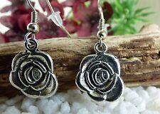 Ohrringe Rosen - Silber Vintage Look -  Rose Rosenblüte Metall Floral Geschenk