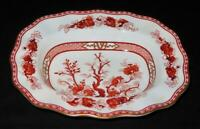 """Coalport INDIAN TREE Coral Scalloped Oval Vegetable Serving Bowl 7 3/4"""" x 10"""""""