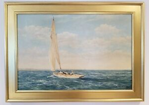 Antique Sailboat Race Original Painting M.G. Friedrich Yacht Race Regatta Ship