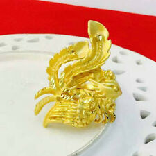Royal Lucky Phoenix Ring Women 24K Carved Rings Yellow Gold Filled Jewelry Gift