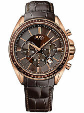 Hugo Boss 1513093 Men's Rose Gold & Brown Leather Strap Chronograph Quartz Watch