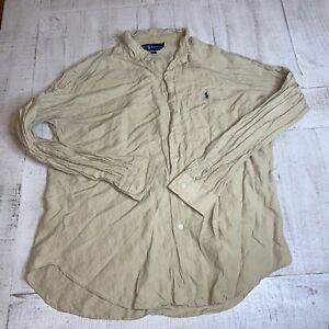 Vintage Polo Ralph Lauren Beige Linen Silk Shirt 90s Leisure Beach Button Up L