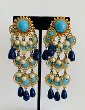 Rare Vintage William DeLillo Clip Earrings With Pearl Lapis and Turquoise