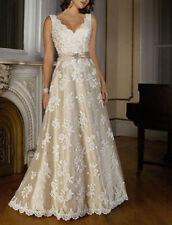 Champagne Applique A-line Sleeveless V Neck Wedding Dress Dance Ball Gown Zipper