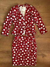 YVES SAINT LAURENT Vintage Red/ White Polka Dot Two Piece Suit Skirt Jacket 12UK