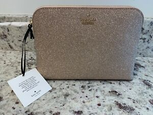 NWT Kate Spade Glitter Pouch Burgess Court Small Briley Cosmetic Bag Rose Gold