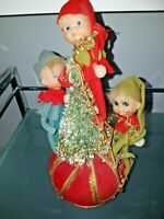 Vtg  Knee-Hugger Pixie Elves  Elf Knee Bottle Brush Tree Music Box Jingle Bells