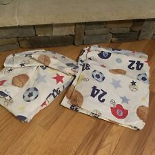 Pottery Barn Kids Twin Size Sports Theme Sheets, Pillowcases & Duvet Cover