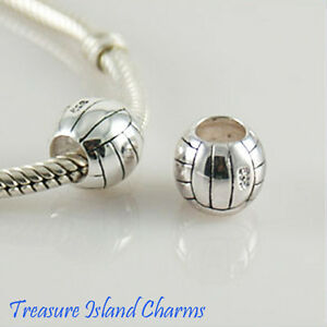 Volleyball Ball 925 Solid Sterling Silver European Spacer Bead Charm Euro