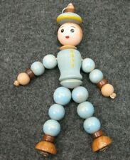 Wood Wooden Bead Doll Toy Vintage Blue Brown Yellow