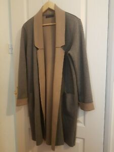 M&S Wool Blend Coatigan Grey Mix Size Large