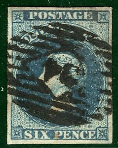 SOUTH AUSTRALIA QV SG.3 6d Deep Blue (1855) Used *34* Numeral Cat £170+ EBLUE61
