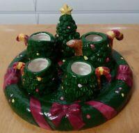 Christmas Tree Miniature Tea Set Resin Holiday Mini
