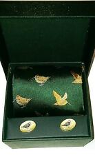 Soprano green Woodcock Country Tie with woodcock cufflinks in a lovely gift box