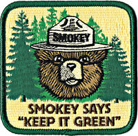 ⫸ Large Official SMOKEY BEAR SAYS KEEP IT GREEN Embroidered Patch USFS New oo