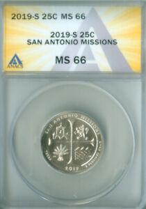 2019 S Washington quarter ATB Texas San Antonio Missions ANACS MS-66 FREE S/H