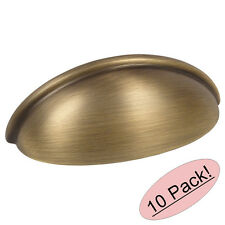 *10 Pack* Cosmas Cabinet Hardware Brushed Antique Brass Cup Handle Pull #783BAB