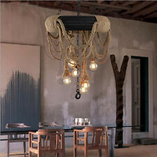 Loft Vintage 6 Holder Hemp Rope Tyre Ceiling Lamp Chandelier Pendant Light Black