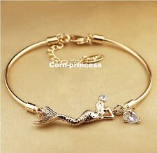 18K GP Gold Plated Element Crystal Mermaid Sea-maid Tear Bracelet