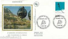 1987**ENVELOPPE SOIE**FDC 1°JOUR!**TRANSPORTS A CABLES-GRENOBLE**TIMBRE Y/T 2480