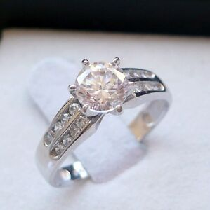 14k SOLID white GOLD ladies CZ ENGAGEMENT/ PROMISE RING size 7