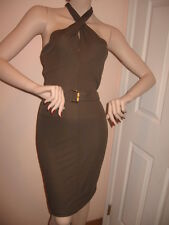 $1450 NWT AUTH GUCCI CROSS FRONT HALTER COCKTAIL BROWN DRESS with  BELT sz 6