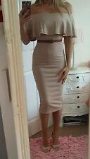 Bnwt sexy size 10 biege midi pencil dress bardot frill off shoulder party