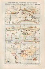 Landkarte map 1910: VERBREITUNG DER WICHTIGSTEN HAUSSÄUGETIERE. Tier-Geografisch