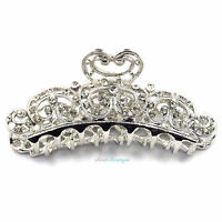 Wedding Prom Silver Crystal Vintage Heart Large Hair Claw Clip Grip Clamp CL01