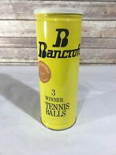 Vintage BANCROFT Metal Tennis Ball Can Empty Prop USA Yellow Black