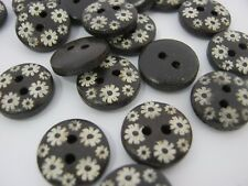 """10 Brown Floral Buttons 15mm (5/8"""") White Flowers Wood Sewing Buttons Knitting"""