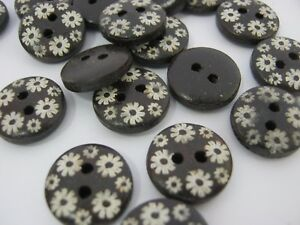 """10 Brown Floral Buttons 12mm (1/2"""") White Flowers Wood Sewing Buttons Knitting"""