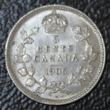 OLD CANADIAN COIN 1905 - 5 CENTS - .925 SILVER - Edward VII - Nice DETAILS