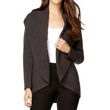 Alfani 5615 Womens Gray Ribbed Knit Open Front Cardigan Sweater Top L BHFO
