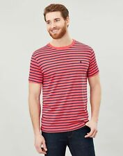 Joules Mens Boathouse  Striped Crew Neck Tee - Pink Blue Stripe