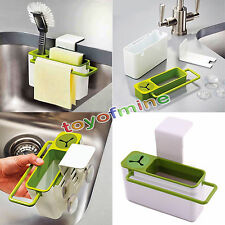 Suction Cup Kitchen Sink Holder Bathroom Plastic Storage Shelf Rack Organizer