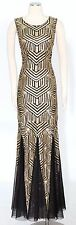 Calvin Klein Black Gold Dress Size 10 Sequined Open Back Gown Women's New*