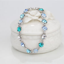 Aquamarine Austrian Crystal Elements White Gold Plated Adjustable Bracelet 8inch