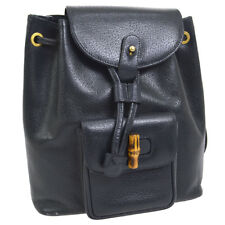 Auth GUCCI Bamboo Line Backpack Hand Bag Navy Leather Italy Vintage NR11601