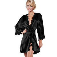 Women Stylish Nightdress Satin Lace Kimono Sleepwear Lingerie Dressing Gown Robe