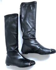 Chanel Black   Knee  Boots Metal Cap Toe CC Logo Size 37.5