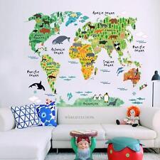 Sticker Kids Nursery Room Animal World Map PVC Wall Decal Removable Home Decor