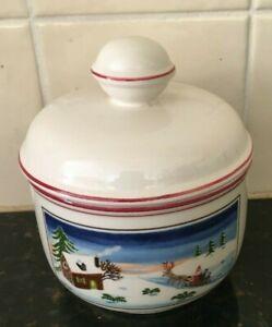 Vintage Villeroy and Boch Porcelain Design Naif Christmas Lidded Trinket Dish