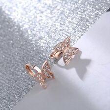 Sweet rose gold plated butterfly shape cubic zirconia small hoop earrings
