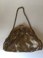 Whiting and Davis Vintage Gold Mesh Purse w Chain Strap Peach Lining Intact