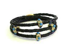 Gold Pow Wow Triple Wrap Black Leather Bracelet