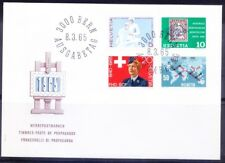 S6f- Switzerland 1965 FDC, Nursing care, Stamp on Stamp, Maps